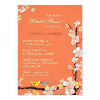 love birds spring floral orange bridal shower invitation