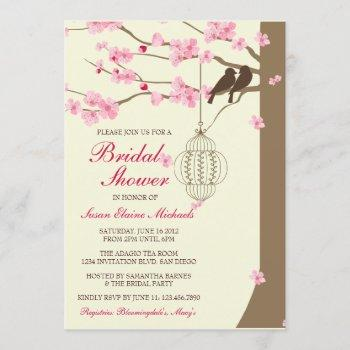 love birds vintage cage blossom bridal shower invitation