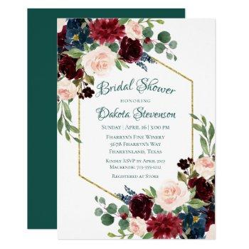 love bloom | bold floral wreath bridal shower invitation