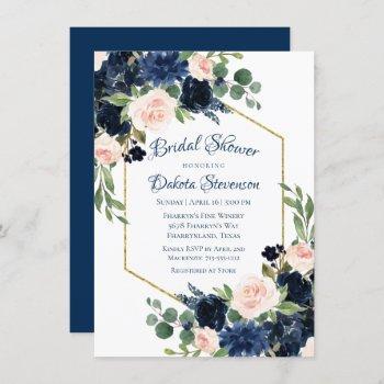 love bloom | chic blush navy floral bridal shower invitation