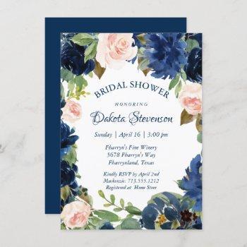 love bloom | chic navy blush garland bridal shower invitation