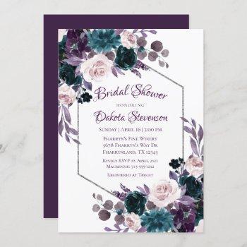 love bloom   eggplant moody purple bridal shower invitation