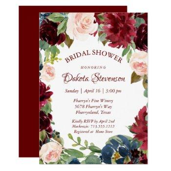 love bloom | elegant burgundy floral bridal shower invitation