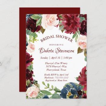 love bloom | elegant burgundy floral bridal shower invitation