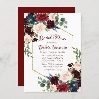 love bloom | elegant burgundy floral gold frame invitation