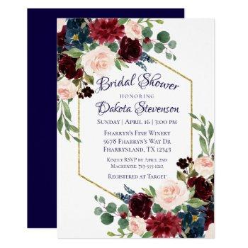 love bloom | rustic navy burgundy bridal shower invitation