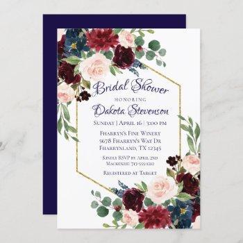 love bloom | rustic navy burgundy bridal shower invitation