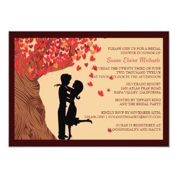 love couple falling hearts oak tree bridal shower invitation