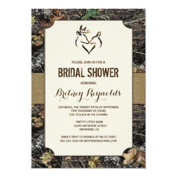 love deer hunting camo bridal shower invitations