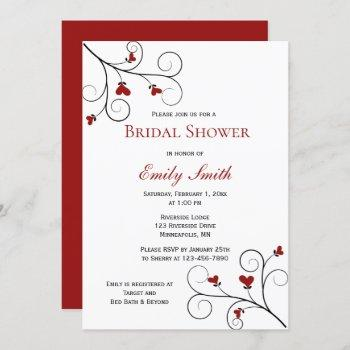 love grows | red hearts bridal shower invitation