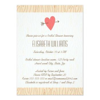love heart & arrow wood illustration bridal shower invitation