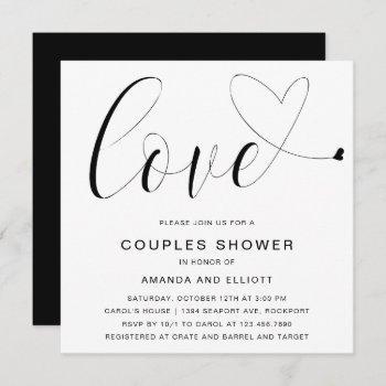 love heart black white typography couples shower invitation