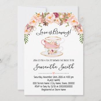 love is brewing tea bridal shower pink invitation
