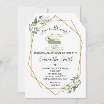 love is brewing tea greenery shower invitation