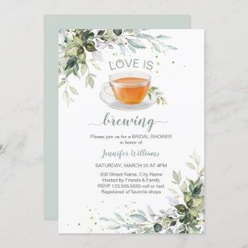 love is brewing tea party bridal shower invitation