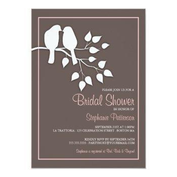 lovebirds on a branch bridal shower invitation
