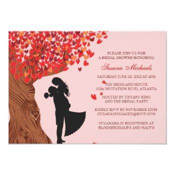 loving couple initials oak tree fall bridal shower invitation