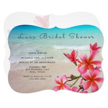 luau bridal shower plumerias invitation