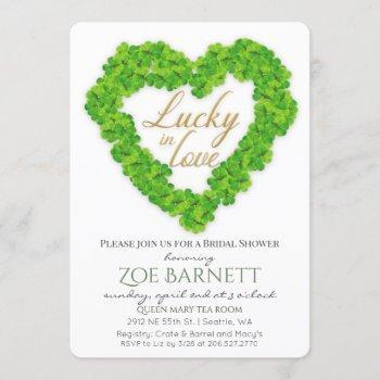 lucky in love clover bridal shower invitation