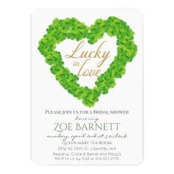 lucky in love clover bridal shower invitation