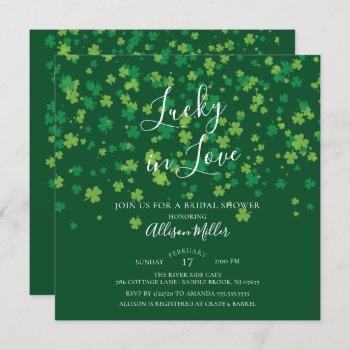 lucky in love shamrock bridal shower invitation