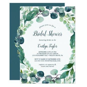 lush greenery and eucalyptus bridal shower invitation