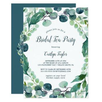 lush greenery and eucalyptus bridal tea party invitation