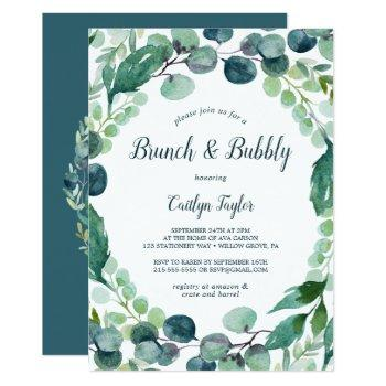 lush greenery and eucalyptus brunch and bubbly invitation