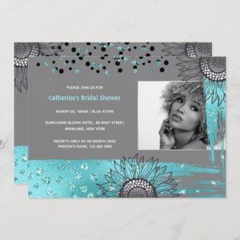 luxury blue gray modern sunflower foil shimmer invitation