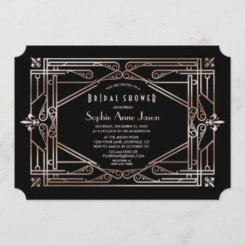 luxury gold great gatsby art deco bridal shower invitation