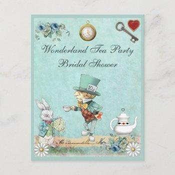 mad hatter wonderland tea party bridal shower invitation