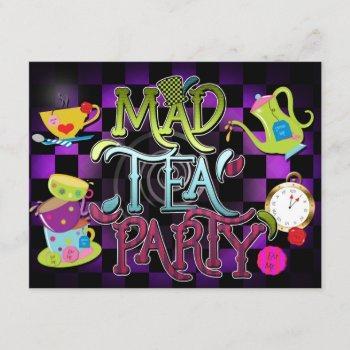 mad tea party wonderland birthday party invitation