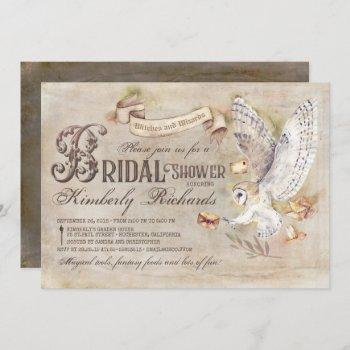 magic owl wizard witch fairy tale bridal shower invitation