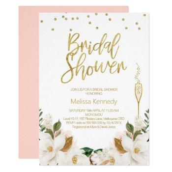 magnolia champagne glass bridal shower invitation