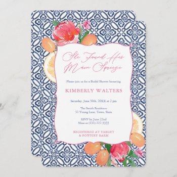 main squeeze citrus flowers blue wedding shower invitation