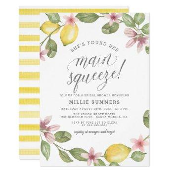 main squeeze floral lemon wreath bridal shower invitation