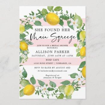 main squeeze lemon theme bridal shower invitation