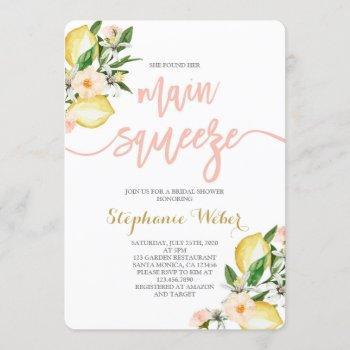 main squeeze lemons bridal shower invitation