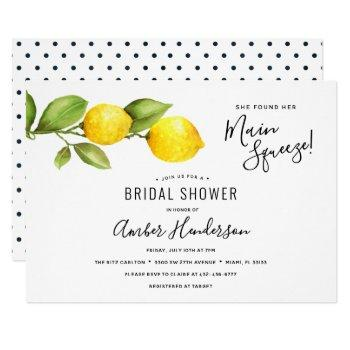 main squeeze lemons bridal shower invitation