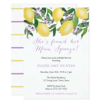 main squeeze yellow lemons purple bridal shower invitation