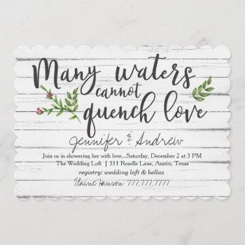 many waters cannot quench love bridal invitation