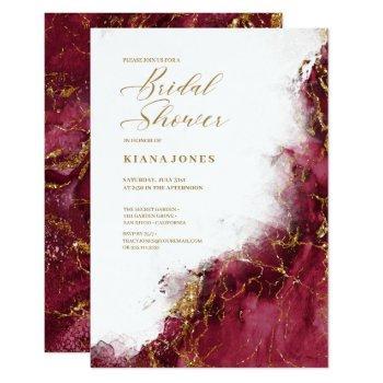 marble glitter wedding burgundy gold id644 invitation