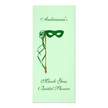 """mardi gras bridal shower"" - green mask w/ ribbon invitation"
