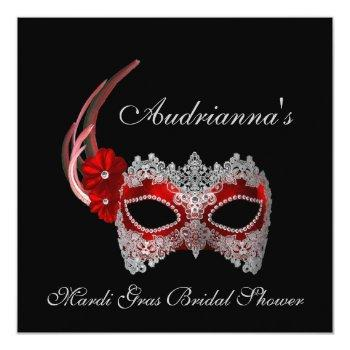"""mardi gras bridal shower"" - mask w/ lace invitation"