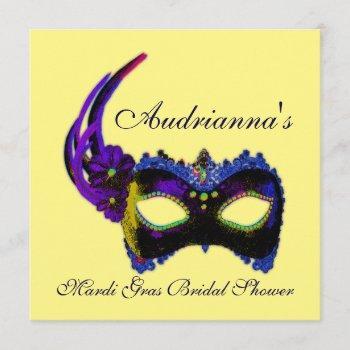 """mardi gras bridal shower""-multiple neon colors[b] invitation"