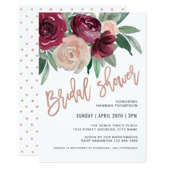 marsala and pale pink floral bridal shower invitation