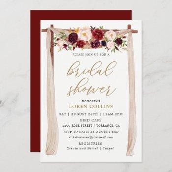 marsala burgundy floral arch boho bridal shower invitation
