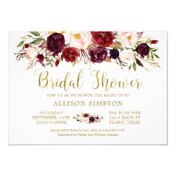marsala floral autumn gold bridal shower card