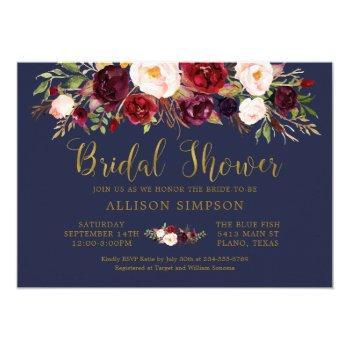 marsala floral autumn navy bridal shower card