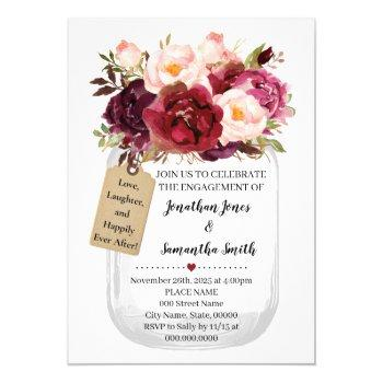 mason jar engagement marsala country chic invitation